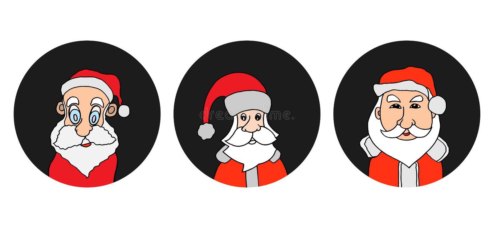 Santa Claus colorful round icons set. Old man with White Beard in Santa Cap. Digital background vector illustration vector illustration
