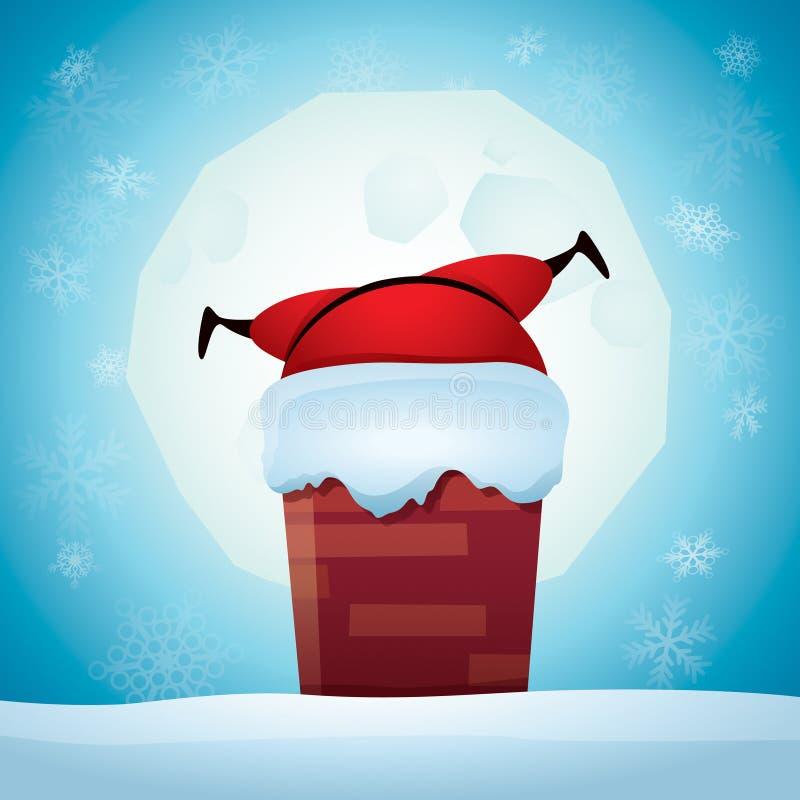 Santa Claus colou em uma chaminé ilustração royalty free