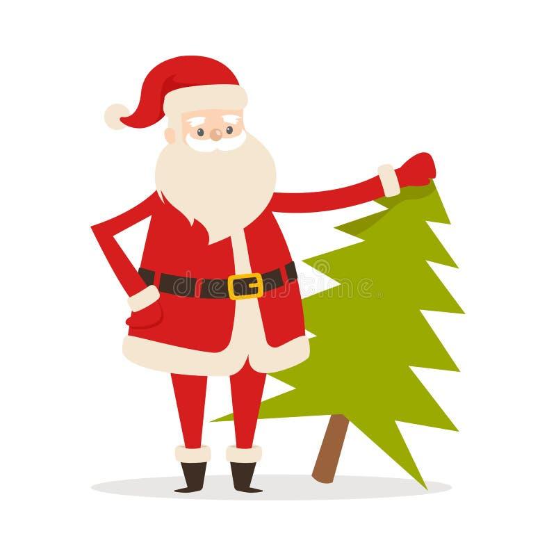 Santa Claus com a árvore de abeto fresca Natal do pai ilustração royalty free