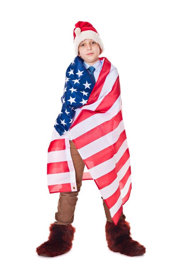 Santa Claus com bandeira dos EUA fotografia de stock royalty free
