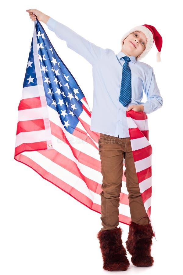 Santa Claus com bandeira dos EUA fotos de stock