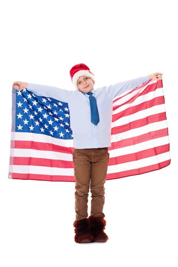 Santa Claus com bandeira dos EUA foto de stock