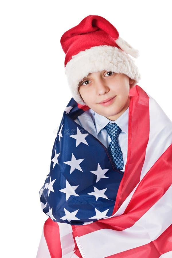 Santa Claus com bandeira dos EUA imagem de stock