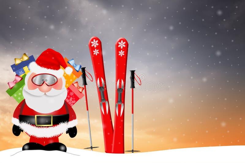 Santa Claus com esqui ilustração royalty free