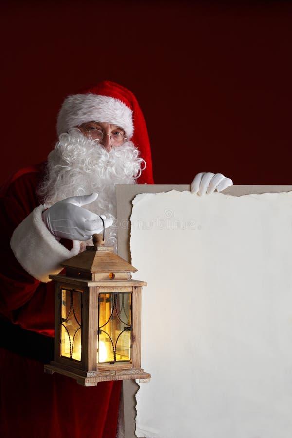 Santa Claus com lanterna imagens de stock royalty free
