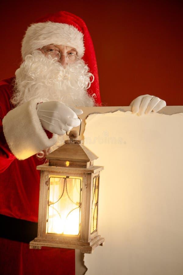 Santa Claus com lanterna fotos de stock royalty free
