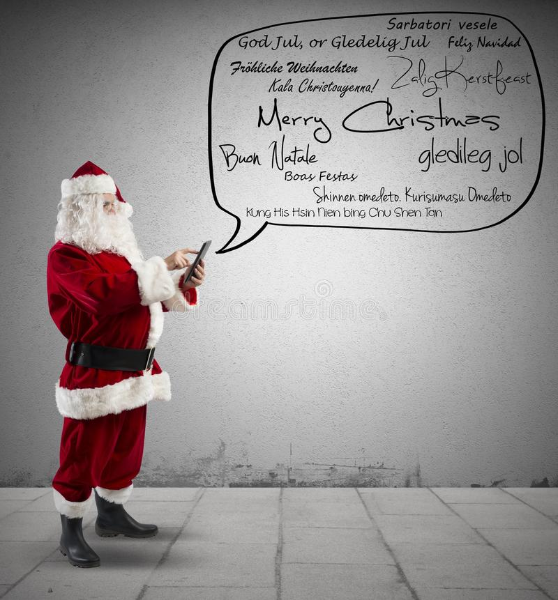 Santa Claus com mensagem do Feliz Natal foto de stock