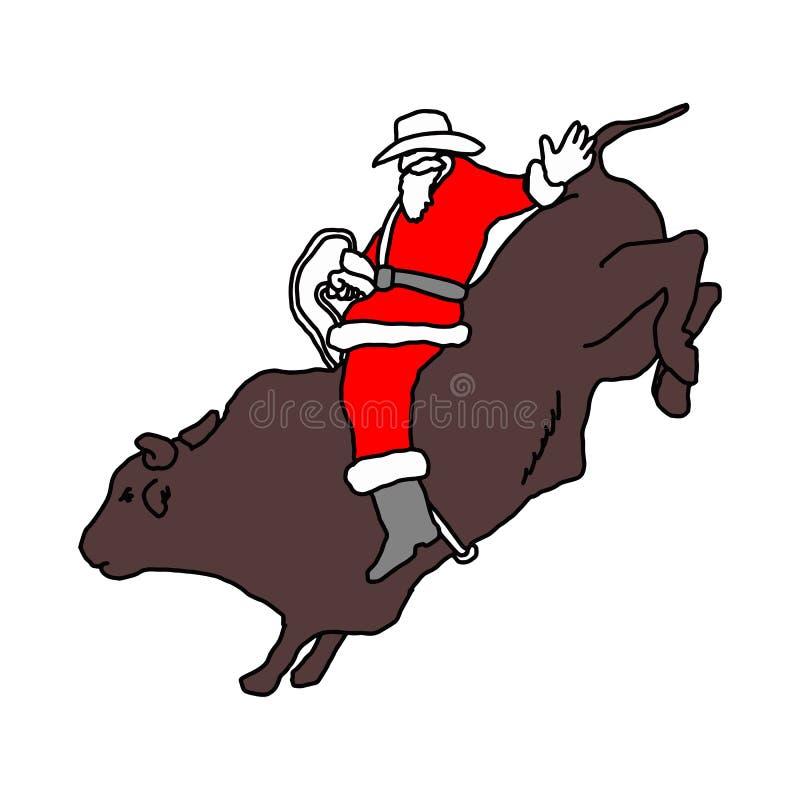 Santa Claus com o chapéu de vaqueiro que monta a ilustração grande do vetor do touro ilustração stock