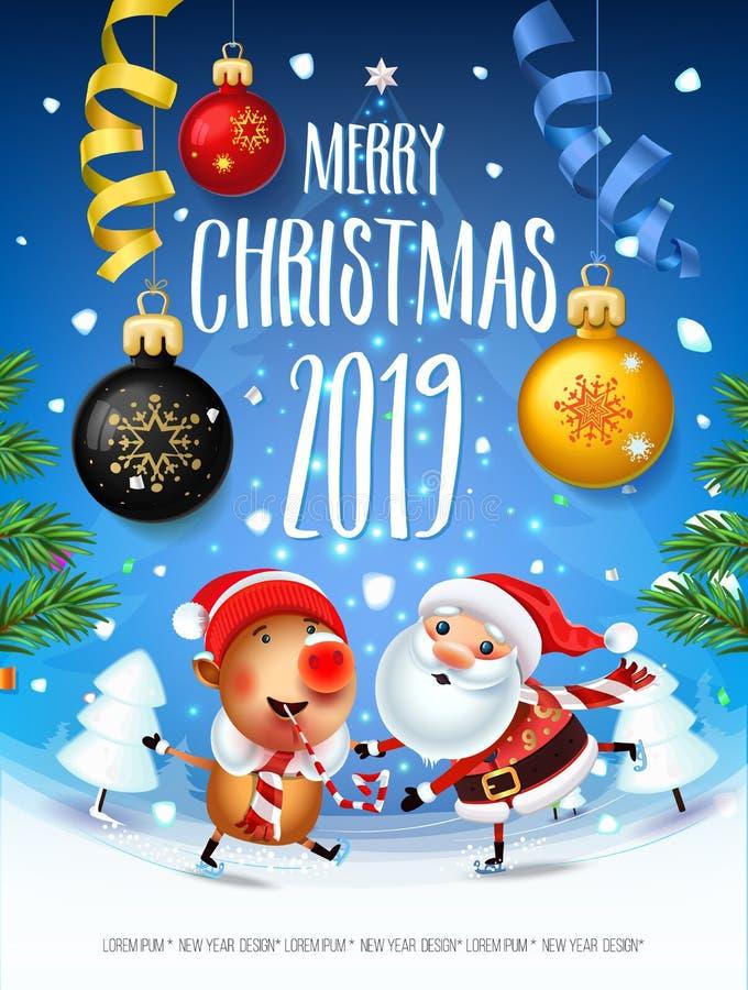 Santa Claus com o símbolo de 2019 porcos ilustração stock