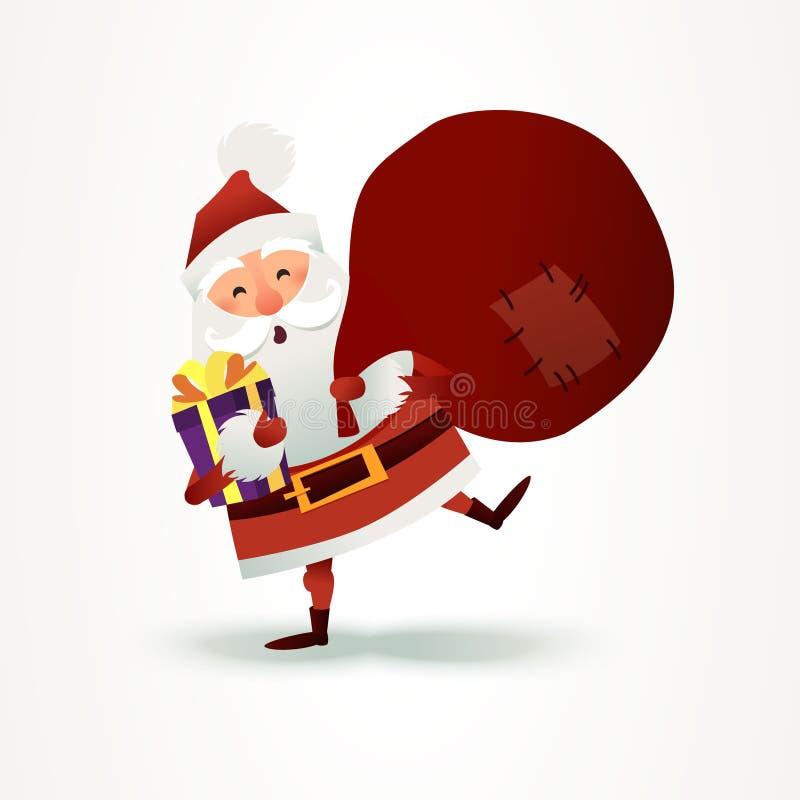 Santa Claus com o saco completo do presente e da caixa atual Personagem de banda desenhada do pai do Natal feliz ilustração do vetor
