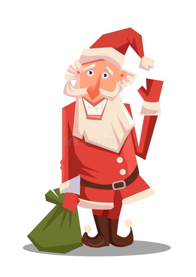 Santa Claus com o saco verde enorme com presentes Chapéu vermelho de Santa Para cartazes do Natal e do ano novo fotografia de stock royalty free