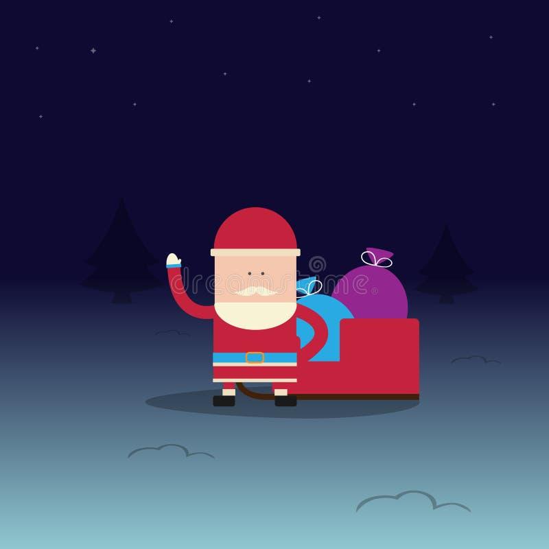 Santa Claus com o trenó com os presentes para o Natal na noite do inverno Ilustração do vetor ilustração stock