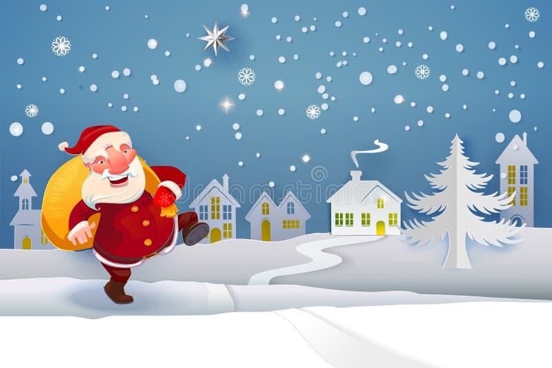 Santa Claus com os presentes que vão na noite ilustração stock