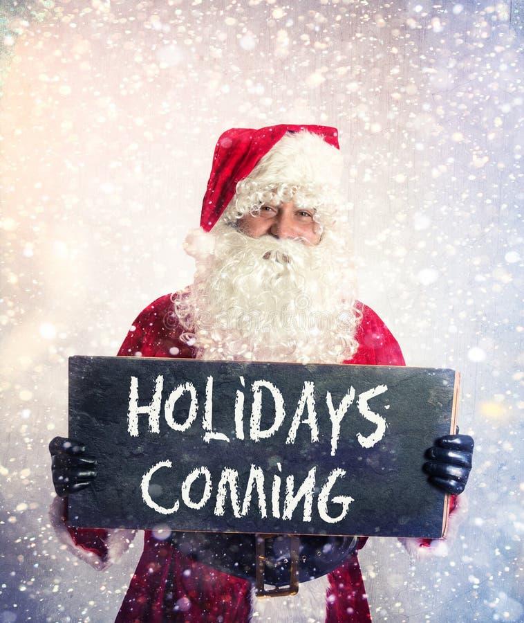 Santa Claus com quadro fotografia de stock royalty free