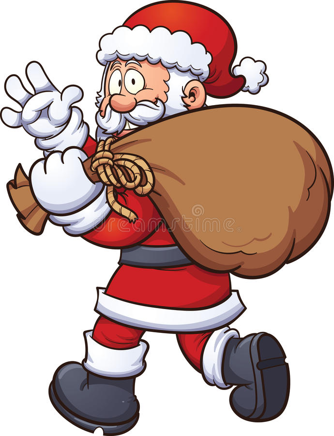 Santa Claus com saco ilustração stock
