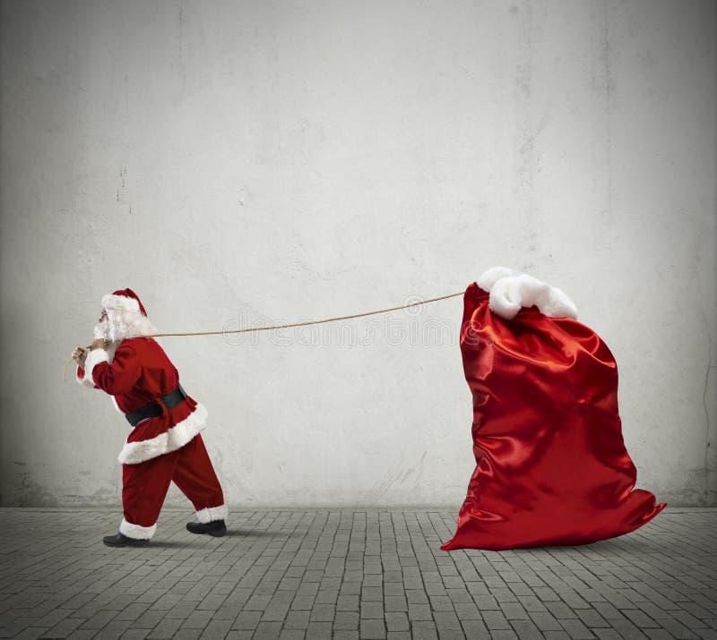 Santa Claus com saco grande imagens de stock royalty free