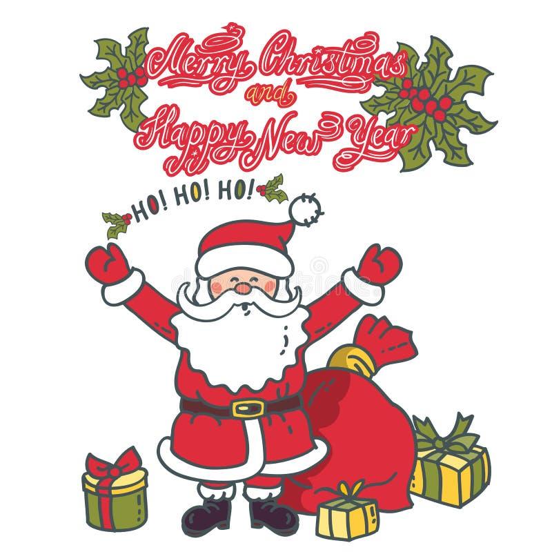 Santa Claus com suas mãos levantadas no cumprimento Cartão da ilustração com texto ilustração royalty free