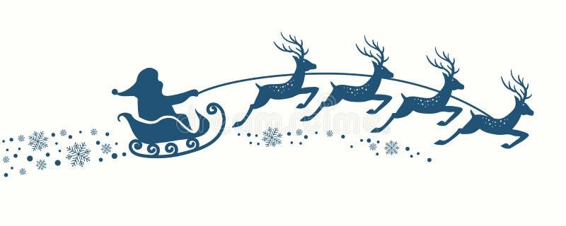 Santa Claus com trenó da rena ilustração do vetor
