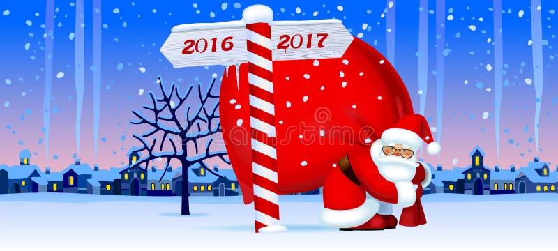 Santa Claus com um sinal do ano novo ilustração do vetor
