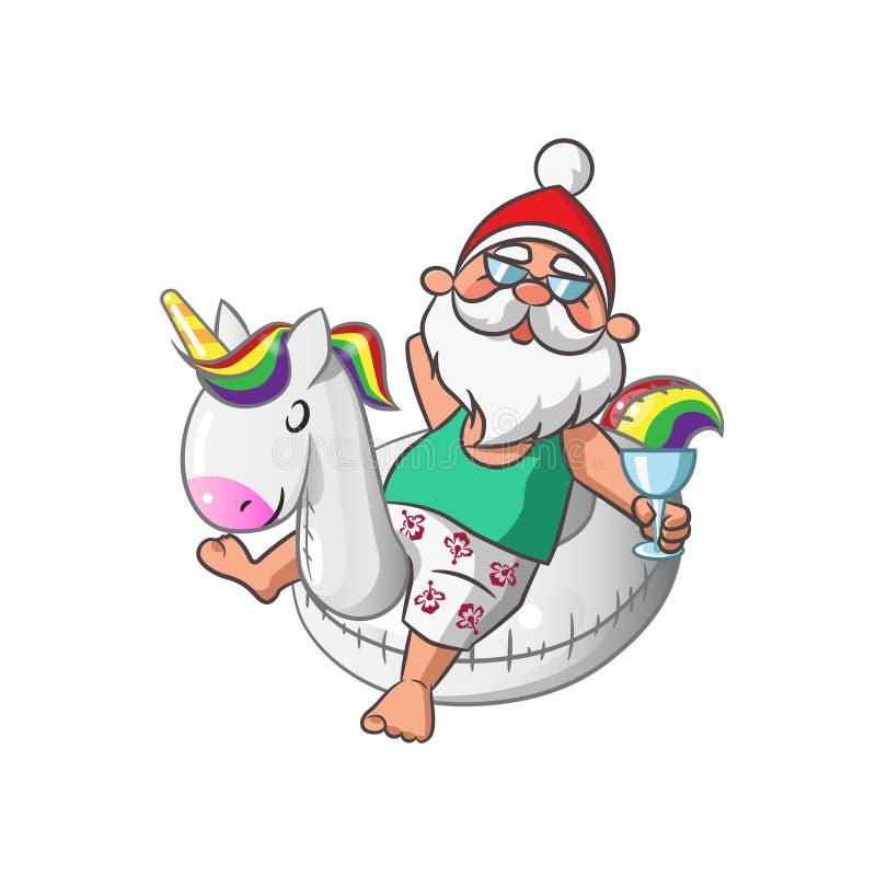 Santa Claus com unicórnio inflável ilustração do vetor