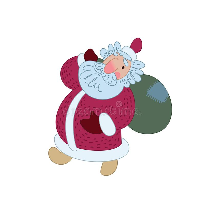 Santa Claus comes with a bag of gifts. Illustration for greeting card. Vector illustration vector illustration