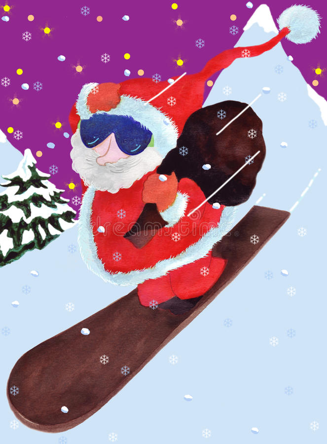 Download Santa Claus Comes Down The Montain Stock Illustration - Illustration: 11353437