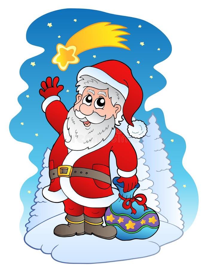 Download Santa Claus with comet stock vector. Image of look, happy - 17100071