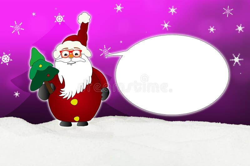 Santa Claus Comic divertida con el óptico del globo de los vidrios stock de ilustración