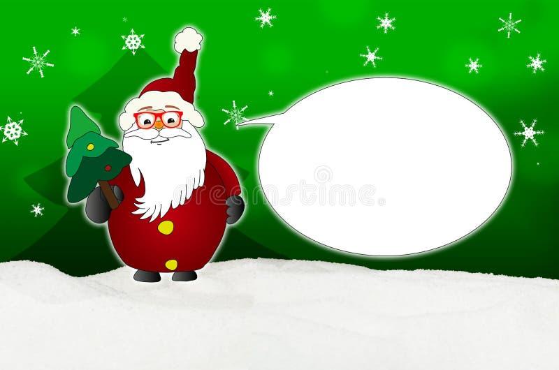 Santa Claus Comic divertida con el óptico del globo de los vidrios ilustración del vector