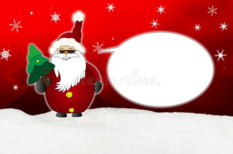 Santa Claus Comic fresca con el globo de las gafas de sol ilustración del vector