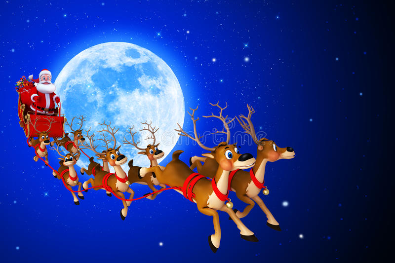 Download Santa Claus Is Coming From Moon Stock Illustration - Image: 26666908