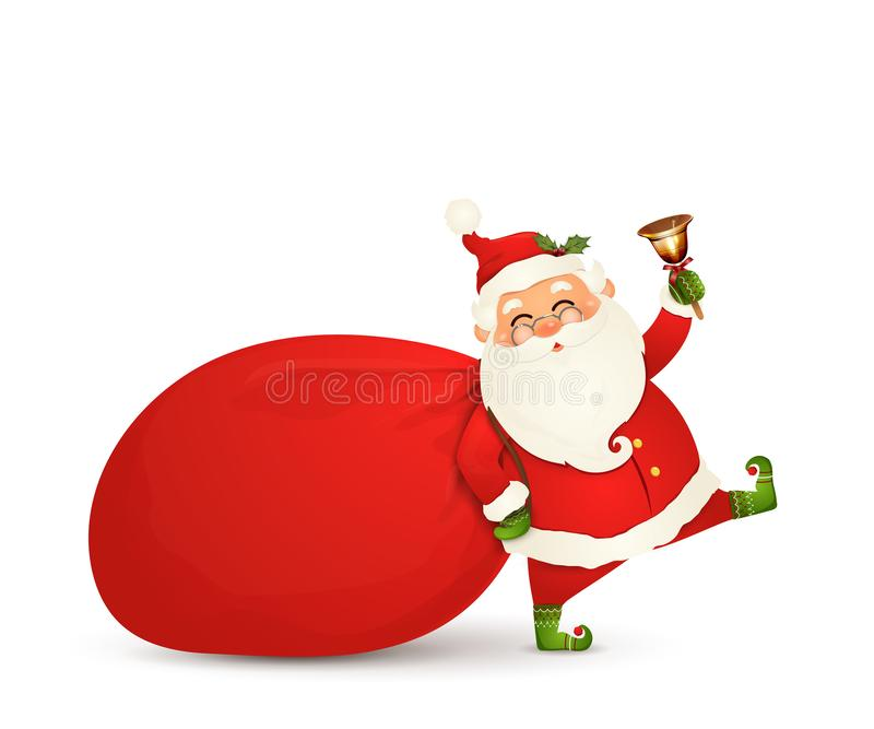 Santa Claus is coming. Santa Claus with huge, red, heavy bag with presents, gift boxes, jingle bell isolated. Happy. Santa Claus cartoon character for winter stock illustration