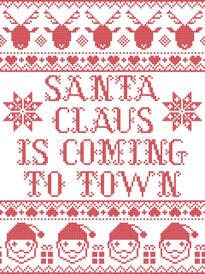 Santa claus is coming to town scandinavian seamless pattern inspired by Nordic culture festive winter in cross stitch stock illustration