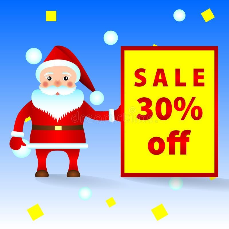 Santa Claus con el aviso de la venta, descuentos ilustración del vector