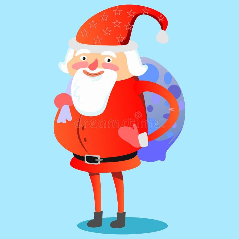 Santa Claus con el bolso fuerte de regalos en el suyo trasero felicita todo el mundo con vector de la Navidad y de la Feliz Año N ilustración del vector