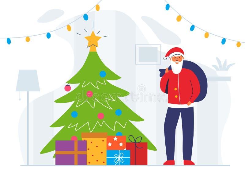 Santa Claus con el bolso y el árbol de navidad del regalo Carácter plano lindo de las vacaciones de invierno Tarjeta de felicitac stock de ilustración