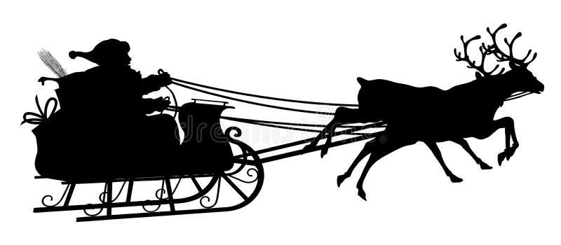 Santa Claus con el trineo del reno - silueta negra en el fondo blanco stock de ilustración