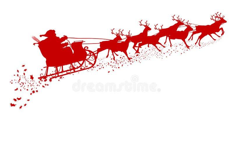 Santa Claus con el trineo del reno - silueta roja ilustración del vector