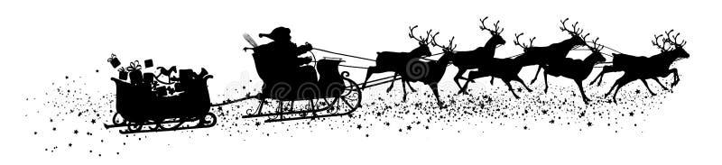 Santa Claus con el trineo y el remolque - vector negro Silh del reno ilustración del vector