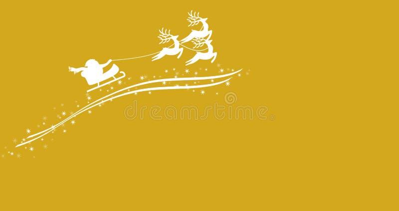 Santa Claus con el trineo y el reno ilustración del vector
