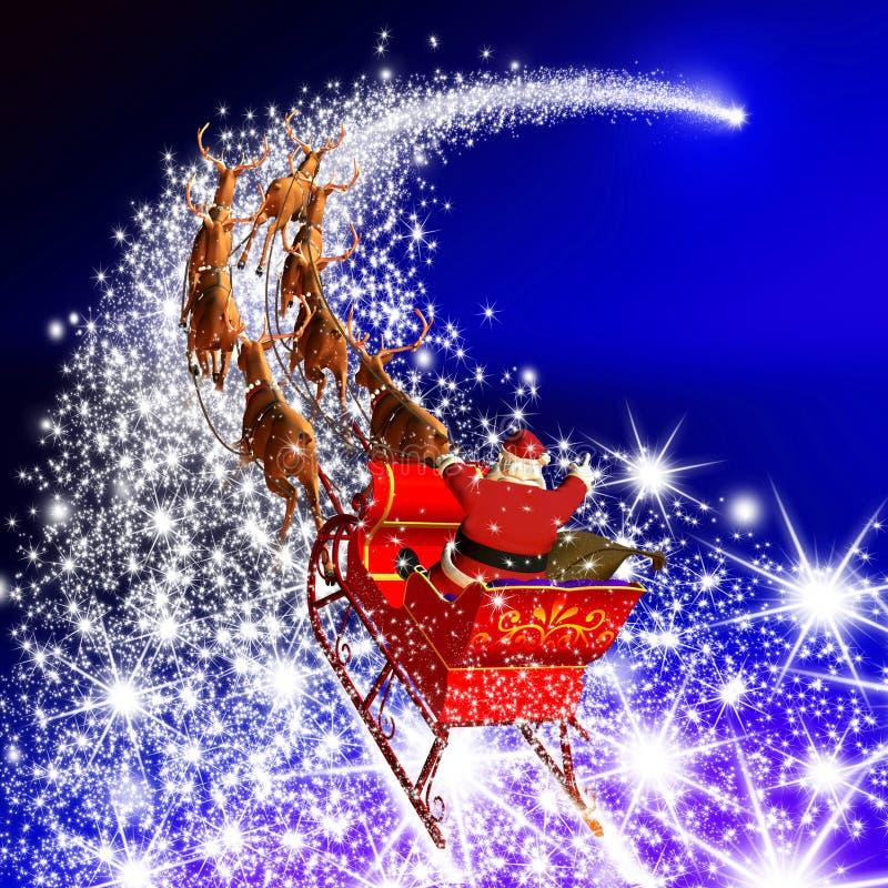 Santa Claus con el vuelo en una estrella el caer - azul del trineo del reno stock de ilustración