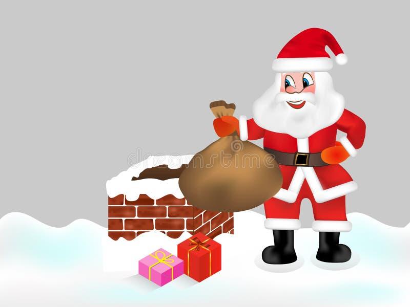 Santa Claus con il sacco in pieno dei regali e del camino Vettore di natale illustrazione di stock