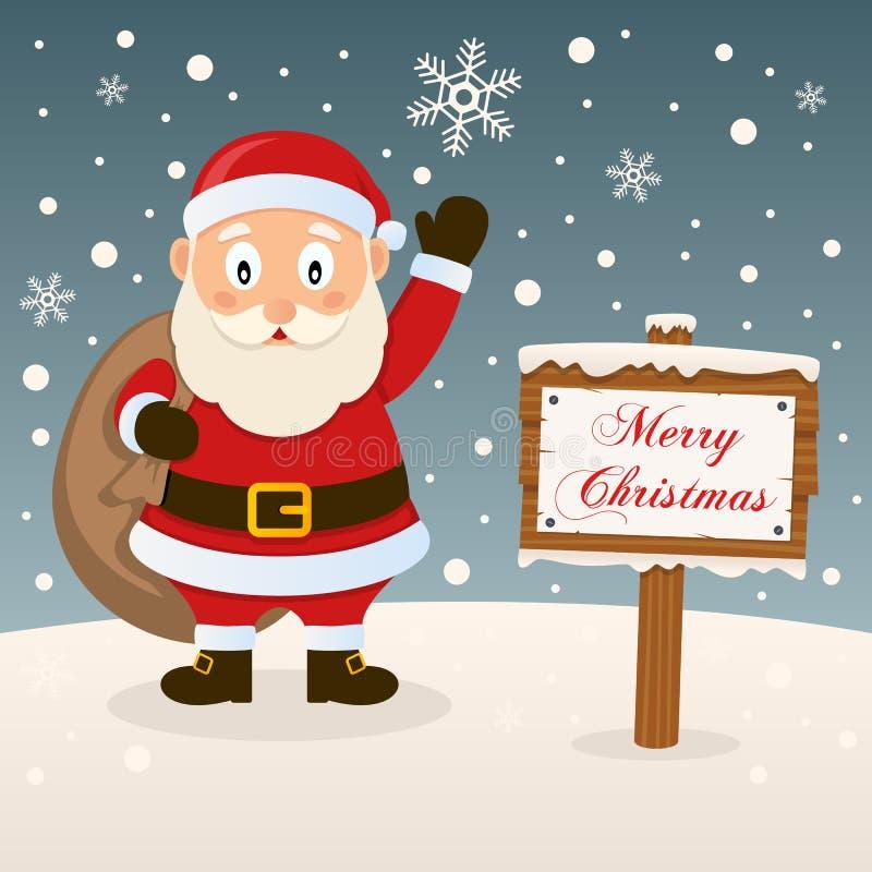 Santa Claus con il segno di Buon Natale royalty illustrazione gratis
