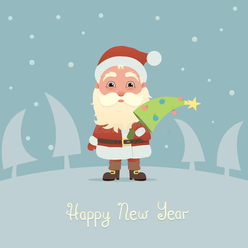 Santa Claus con l'albero di Natale illustrazione vettoriale