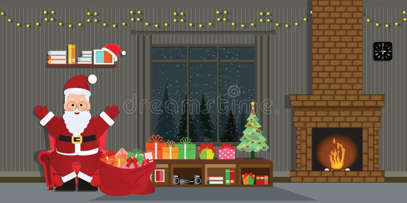 Santa Claus con l'albero di Natale e contenitori di regalo nel inte di Natale illustrazione di stock
