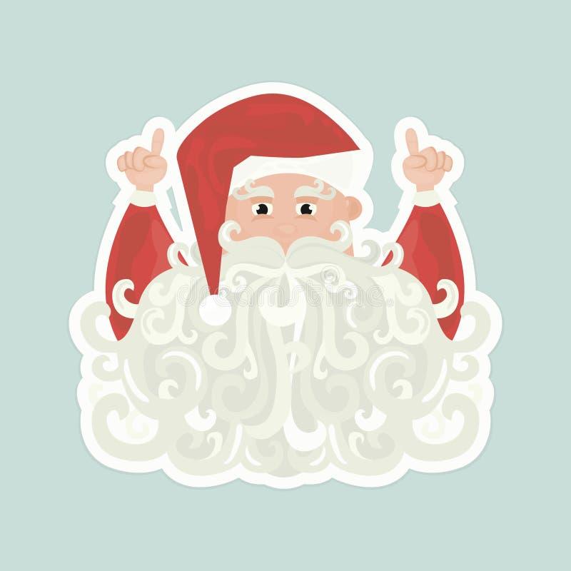 Santa Claus con la barba rizada que señala para arriba en fondo azul libre illustration
