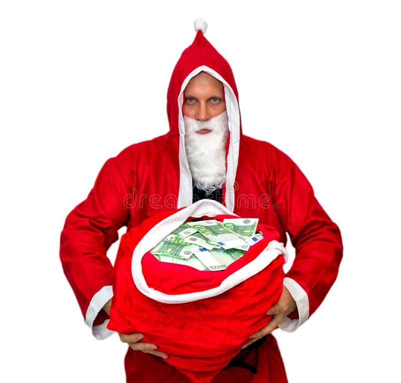 Santa Claus con la borsa piena di soldi immagini stock