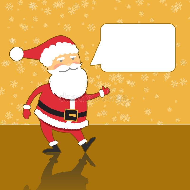 Santa Claus con la burbuja del discurso, fondo moderno del oro ilustración del vector