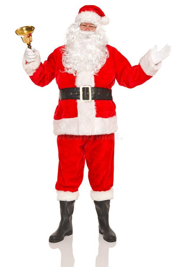 Santa Claus con la campana dell'oro fotografie stock libere da diritti