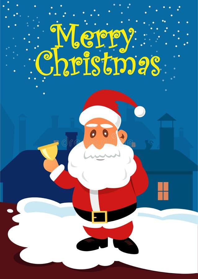 Santa Claus con la campana dorata sul tetto Cartolina di Natale royalty illustrazione gratis